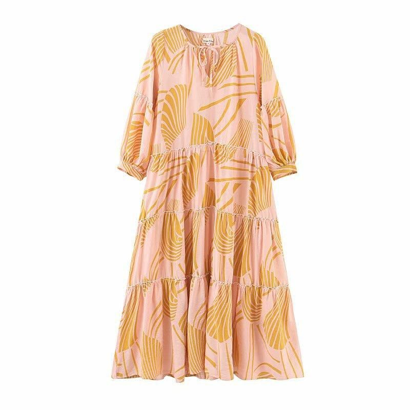 French retro loose print puff sleeve dress long skirt NHAM138438