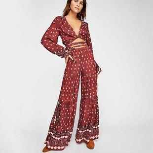 Pantalones top casuales de dos piezas con cuello en V de manga larga NHDF138511's discount tags