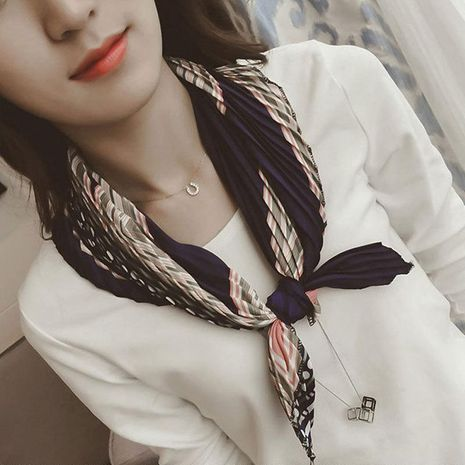 Korean version of the rhinestone candy pleated square scarf NHMN138529's discount tags