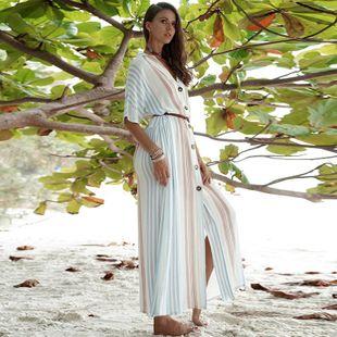 Vestido largo de manga corta a rayas con solapa abotonada y manga larga NHDF138533's discount tags