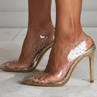Zapatos de tacón de aguja puntiagudos transparentes de tacón alto con diamantes de imitación sexy NHSO138551's discount tags