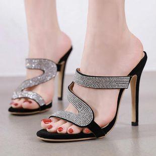 Sandalias de tacón alto de diamantes de imitación de gran tamaño de Europa y América NHSO138553's discount tags