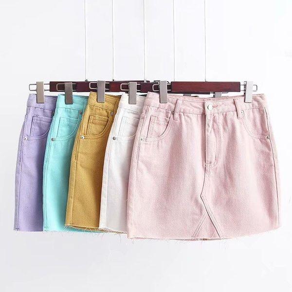 Summer ice bullying color denim bag hip skirt NHAM138579
