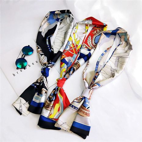 Korean fashion decorative satin long scarf NHMN138606's discount tags