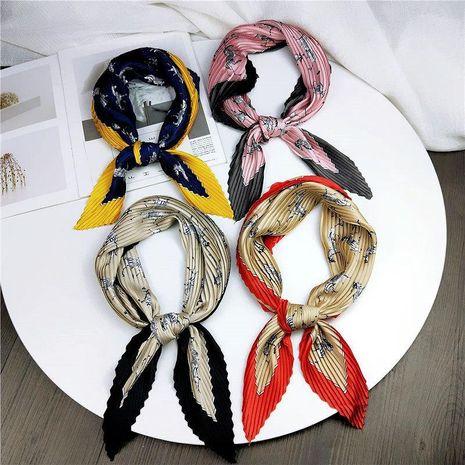 Pleated rhinestone small square scarf NHMN138617's discount tags