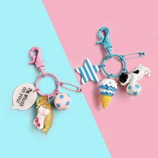 Cartoon cerdo perro bolsa cadena llavero multicolor NHCB138661's discount tags