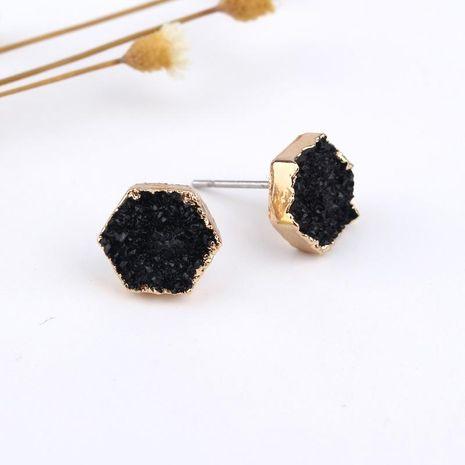 Hexagonal resin earrings NHGO131137's discount tags