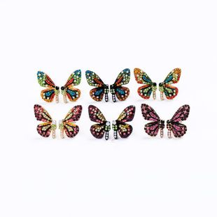 Butterfly and rhinestone earrings NHQD131159's discount tags