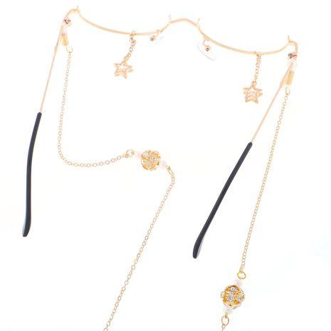 Fashion lensless star zircon chain eyeglass frame NHBC131161's discount tags
