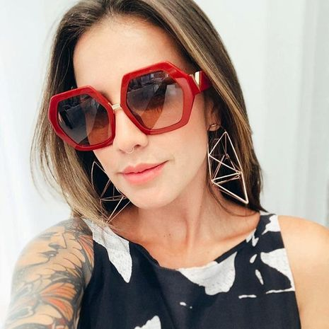Fashion unisex polygon resin sunglasses multicolor NHFY131227's discount tags