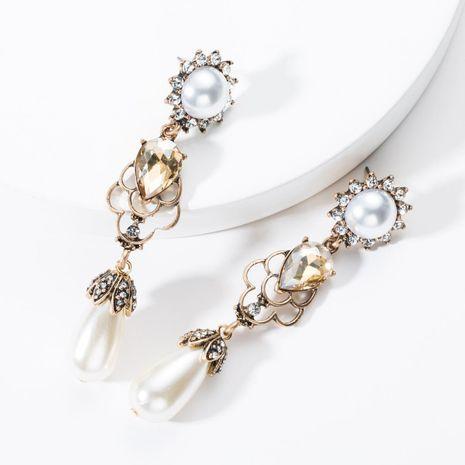Retro palace style water drop rhinestone-like imitation beads earrings NHJE131630's discount tags