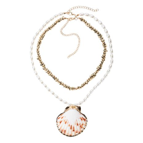 Trend Multilayer Imitation Beads Necklace Shell Necklace NHJE131631's discount tags