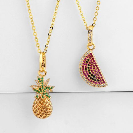 Creative personnalité de la mode pastèque ananas pendentif zircon collier NHAS131643's discount tags