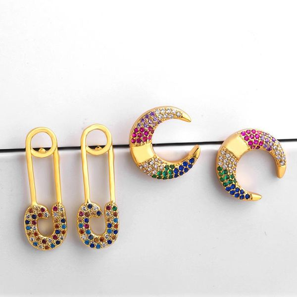 Stylish color zircon personality horns crescent rhinestone earrings NHAS131652