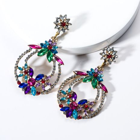 Vintage Multilayer Openwork Round Acrylic Rhinestone Earrings NHJE131654's discount tags