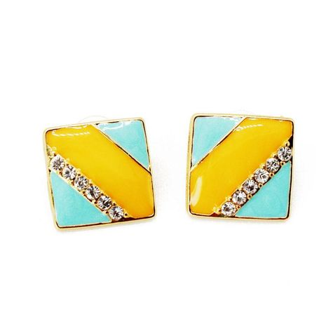 Fashion yellow blue striped square stripe gemstone rhinestone stud earrings NHOM131658's discount tags