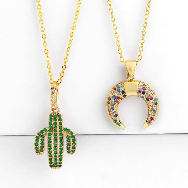 Simple zircon plant cactus necklace NHAS131665
