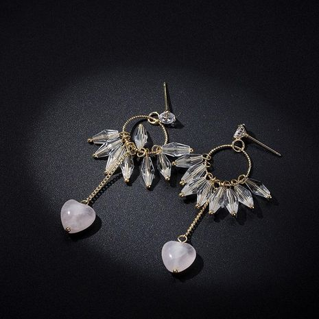 Simple and versatile long imitated crystal love alloy earrings NHLL131666's discount tags