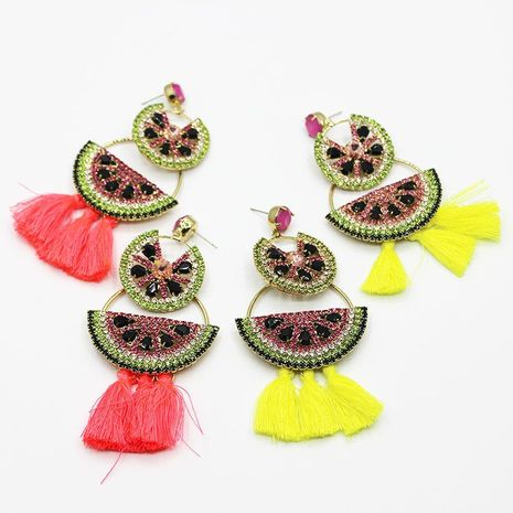 Fashion color flash rhinestone red tassel earrings NHWJ131667's discount tags
