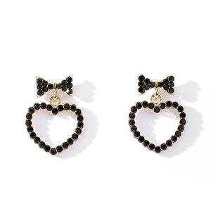 Simple round face bow love alloy earrings NHLL131670's discount tags
