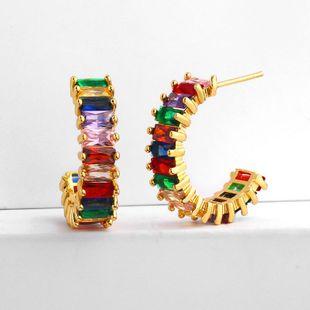 Original design geometric semicircular C-wave color zircon earrings NHAS131680's discount tags
