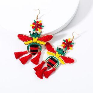 Vintage bee cotton rope woven tassel earrings NHJE131682's discount tags