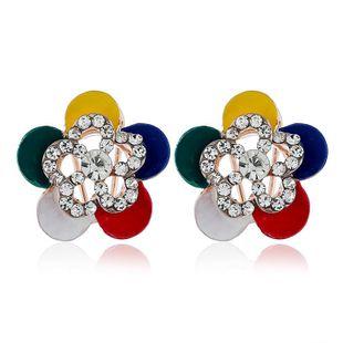 Korean temperament flower fashion rhinestone alloy earrings NHVA131685's discount tags
