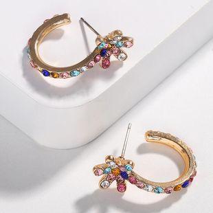 Womens U-shaped rhinestone alloy Earrings NHJQ131686's discount tags