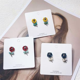 Fashion sweet little fresh imitated crystal flower alloy earrings NHYQ131694's discount tags