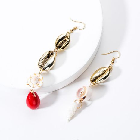 Fashion alloy multi-layer shell long asymmetrical earrings NHJE131695's discount tags