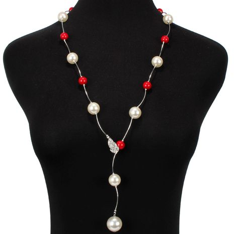 Fashion long rhinestone-studded beads necklace NHCT131696's discount tags