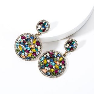 Double-layer round acrylic bracelet full of rhinestone earrings NHJE131703's discount tags