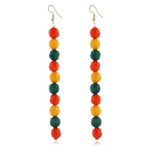 Simple temperament long multi-color beads earrings NHVA131705's discount tags