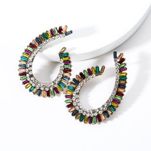 Drop-shaped hollow acrylic rhinestones full of rhinestone earrings NHJE131706's discount tags