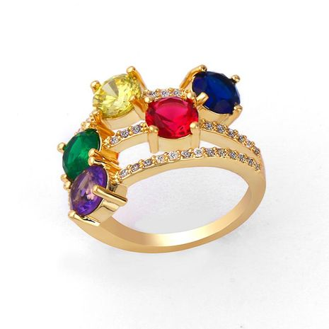 Fashion three-layer colored gemstone ring NHAS131711's discount tags