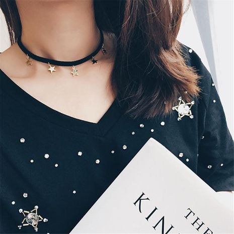 Simple and versatile suede five-pointed star alloy necklace NHMS131720's discount tags