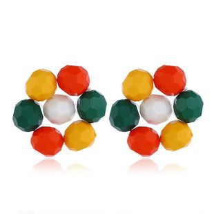Simple and fresh colored flower-shaped round beads earrings NHVA131728's discount tags