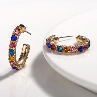 Super fire C-shaped alloy rhinestone earrings NHJQ131738's discount tags