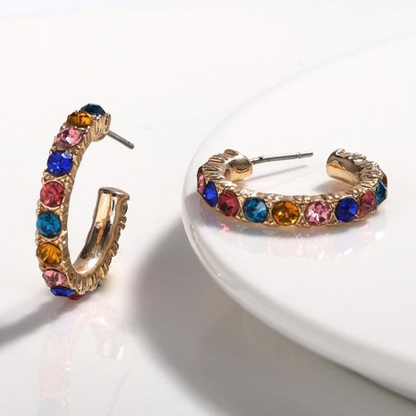 Super fire C-shaped alloy rhinestone earrings NHJQ131738's discount tags