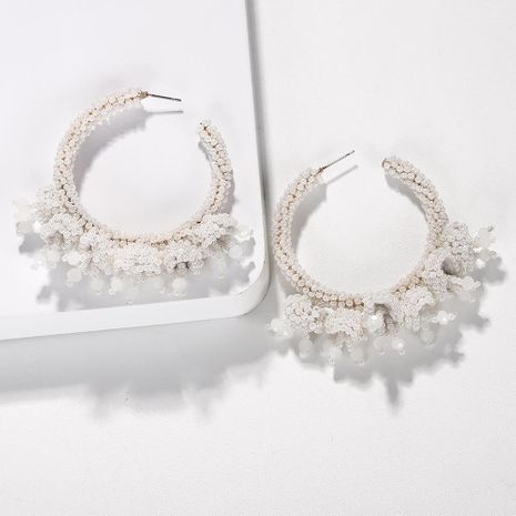 Explosion style rice beads ring woven earrings NHJQ131744's discount tags