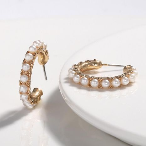 Fashion C-shaped beads ring alloy earrings NHJQ131740's discount tags