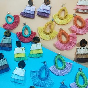 Bohemian ethnic temperament hand-woven earrings NHJQ131745's discount tags