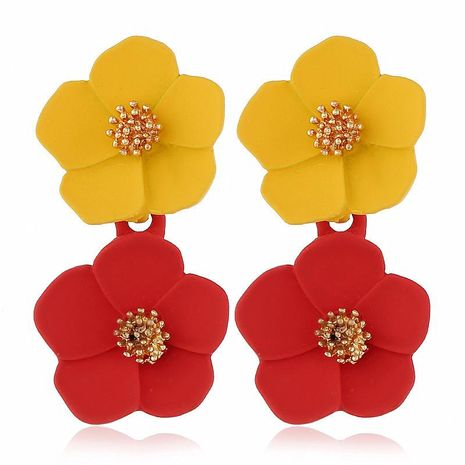 Stylish temperament romantic multicolor flower alloy earrings NHVA131749's discount tags