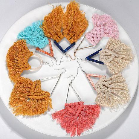 Bohemian ethnic wind braided line tassel earrings NHJQ131748's discount tags