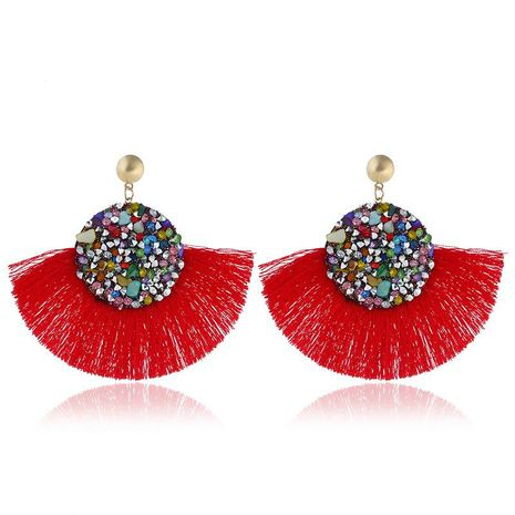 Fashion vintage tassel earrings alloy rhinestones exaggerated earrings NHVA131750's discount tags