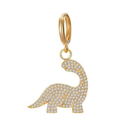 Stainless steel does not open small dinosaur pattern earrings NHGO132222