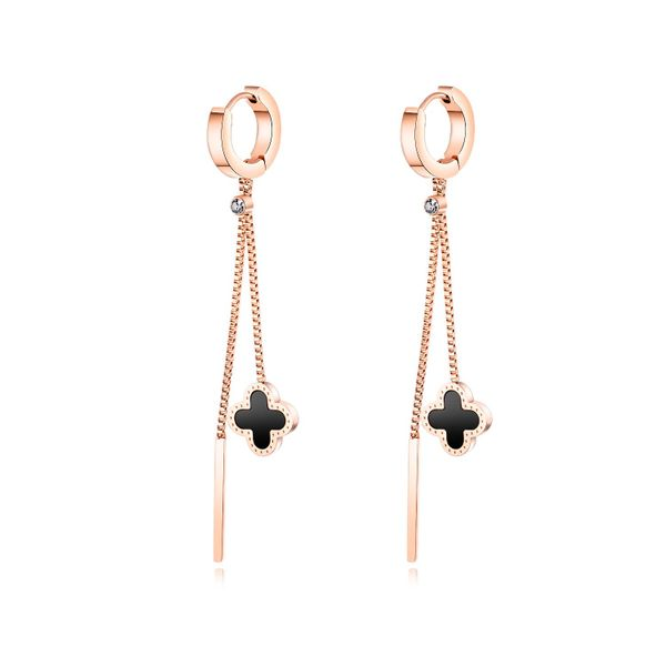 Long rose alloy fringed titanium steel earrings NHOP132234