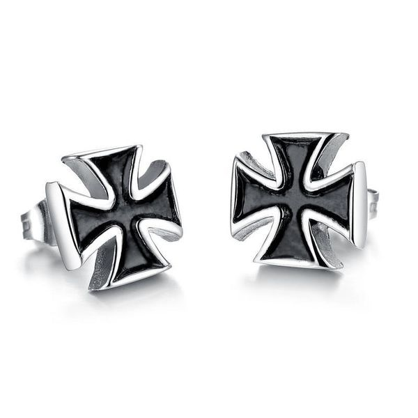 Fashion cross titanium steel earrings NHOP132244