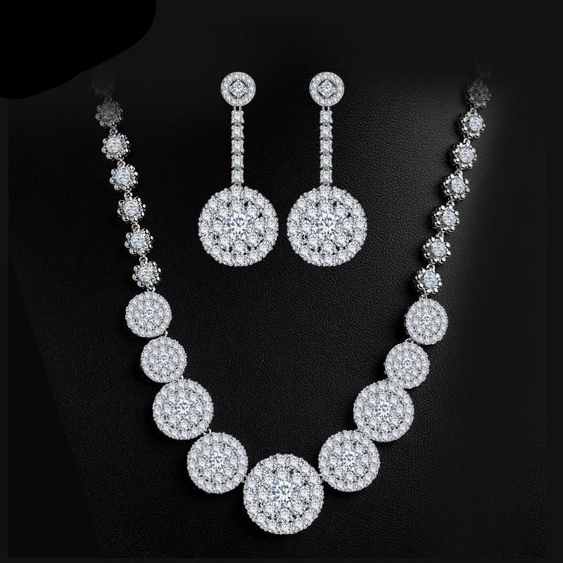Womens Electroplated Copper and Zircons Jewelry Sets NHTM132253