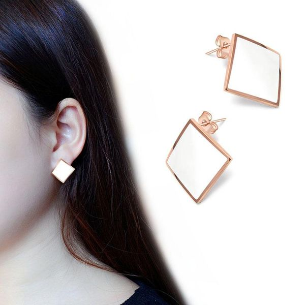 Fashion geometric cube rhinestone drop earrings NHOK132258